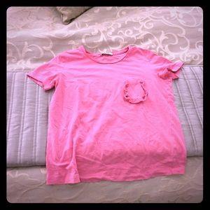 Zara pink t shirt with ruffle pocket square